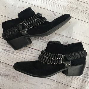 SAM EDELMAN Posey Chain Black Suede Ankle Boots